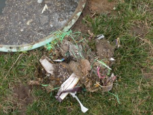 Trash in septic system, poor maintenance, Bio-Gard
